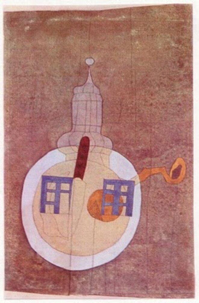 Lajos Vajda - Maisons et tour avec assiette, 1937