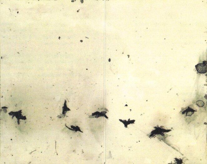 """Véronique Gentil, """"Les Corbeaux"""", peinture (technique mixte) réalisée pour """"Chansons"""" de P. Peuchmaurd"""