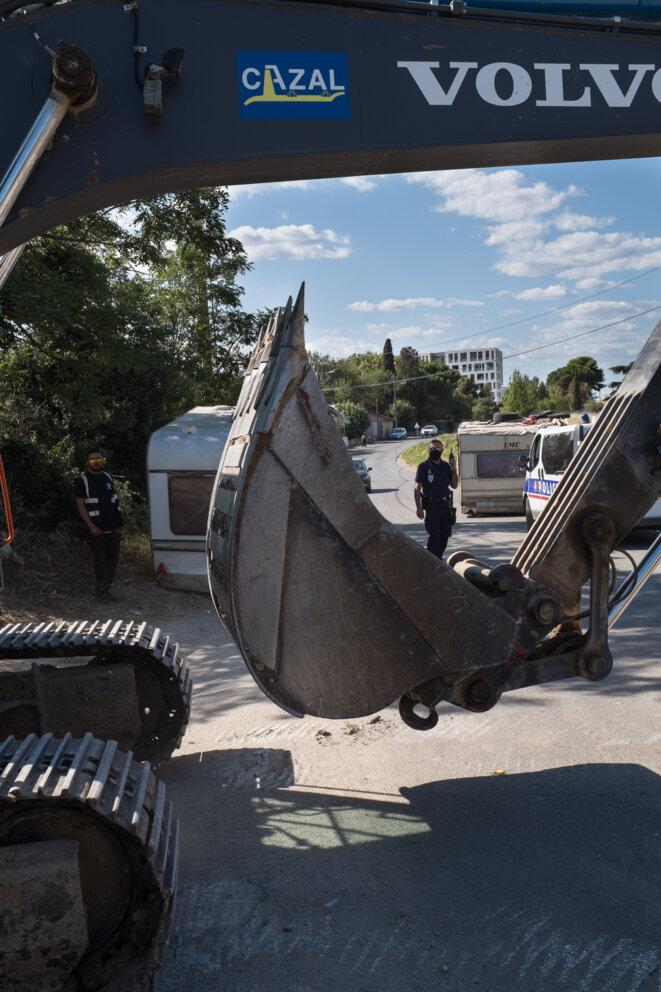 Evacuation et destruction du bidonville du Mas Rouge à Montpellier.