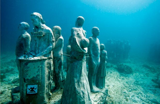 Space Invader dans l'eau de la Baie de Cancun © Space Invader / photo par Jason de Caires
