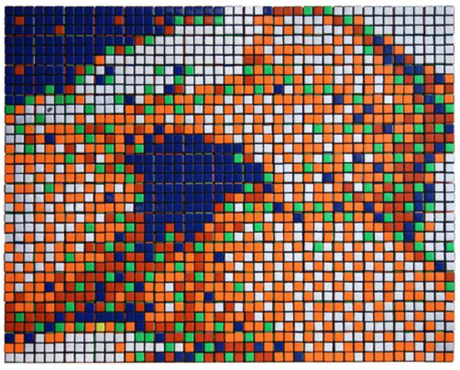 RUBIK ORIGINE  2006 180 RUBIK'S CUBES IN PERSPEX BOX 66x82x5,5 cm © Space Invader