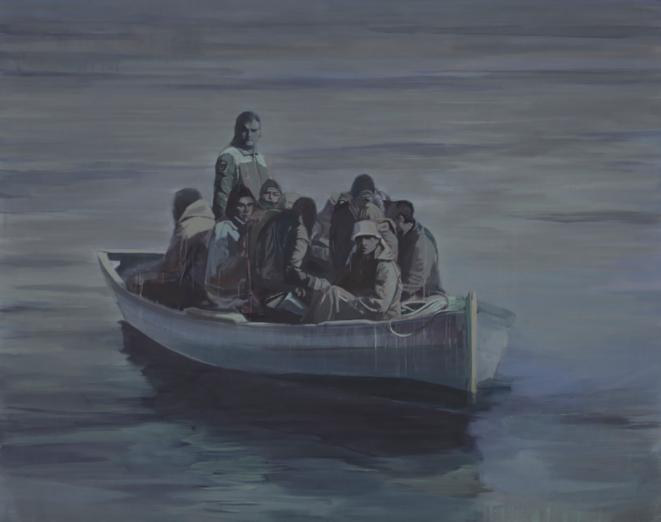 Le Passeur, 2011, acrylique sur toile, 200 x 250 cm © Claire Tabouret