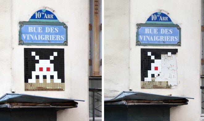 Exemple de Space Invader arraché © L. Belluteau