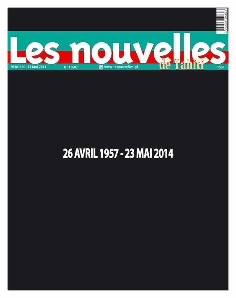 """Dernière """"une"""" des Nouvelles de Tahiti, le 23 mai 2014."""