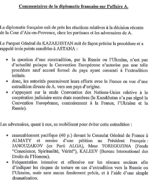 La note transmise par Bernard Squarcini aux                         avocats de Mukhtar Abliazov