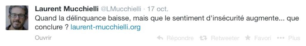 Extrait du compte Twitter de Laurent Mucchielli