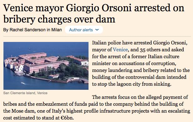 L'article du «Financial Times»à l'époque.