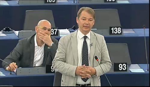 Philippe Lamberts lors du débat du 16 avril à Strasbourg.
