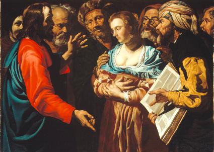 Le Christ et la femme adultère de Matthias Stom