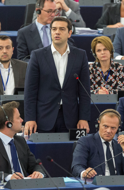 Alexis Tsipras à la tribune du Parlement Européen. Photo CE.