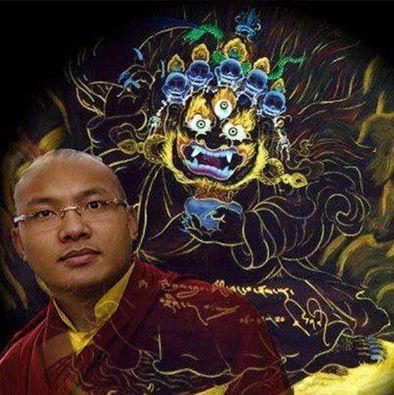 """Sa Sainteté le 17 em Gyalwang Karmapa, Ogyen Trinley Dorje avec sa peinture de """" Mahakala """""""