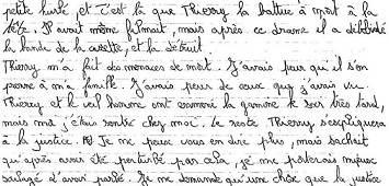 Extrait de la lettre de Daniel Legrand - fils- au Juge Burgaud