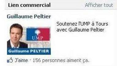 La pub Facebook pour G. Peltier.