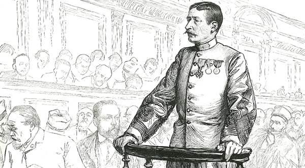 Georges Picquart (1854-1914), à la barre, en 1898: on reconnaît, à gauche, Émile Zola