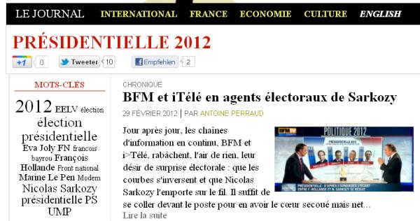 Rubrique Présidentielles 2012 - 1er mars 8h30