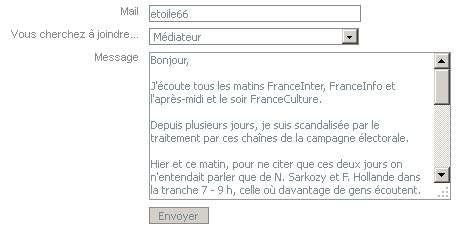 Mail au médiateur de Radio-France, service public