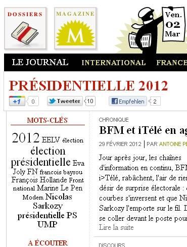Nuage 2 mars 2012 - Elections présidentielles