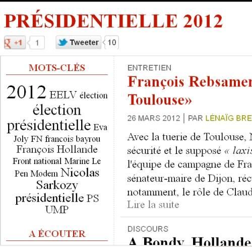Nuage mots-clés Elections présidentielles 2012 ce 27 mars 2012