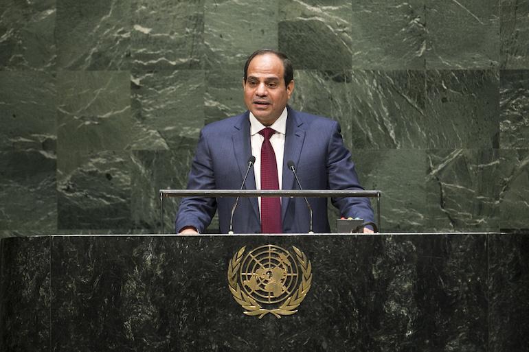 Le président égyptien al-Sissi devant l'Assemblée générale des Nations unies en septembre 2014.