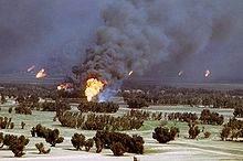 Puits de pétrole en feu au Koweït (1991)