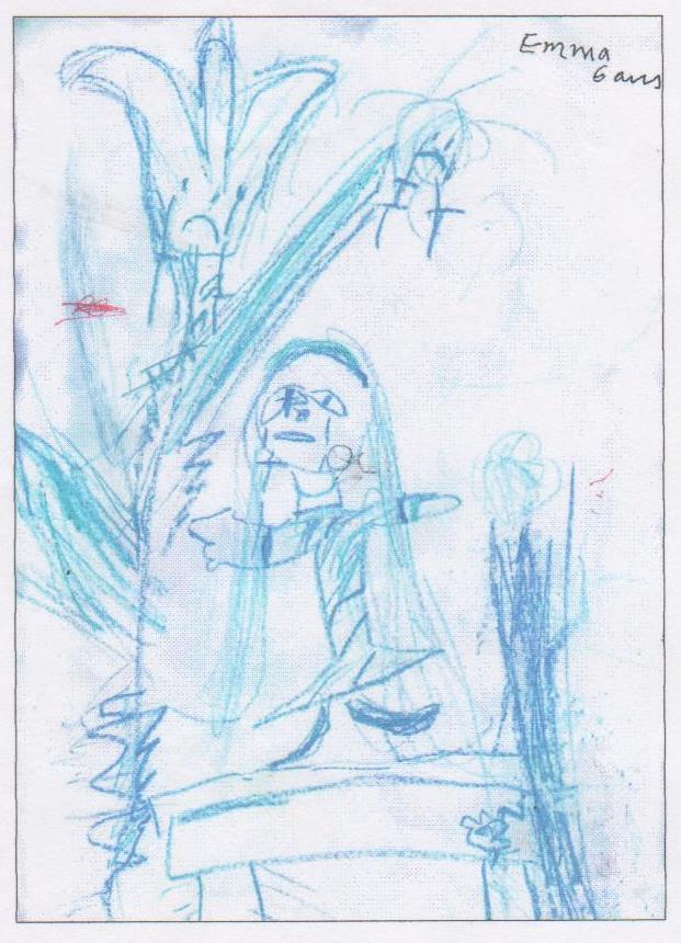 Quand une enfant de 6 ans raconte la tulipe sauvage (dessin), juillet 2005