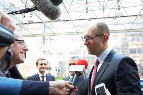 Le chef du gouvernement ukrainien de transition, Arseni Yatseniouk, à Bruxelles, le 6 mars.