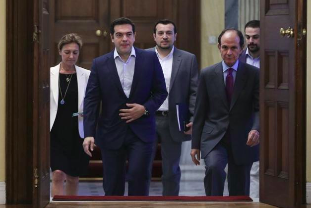 Alexis Tsipras arriving at the Greek presidential office for talks with the country's political leaders, July 6th.