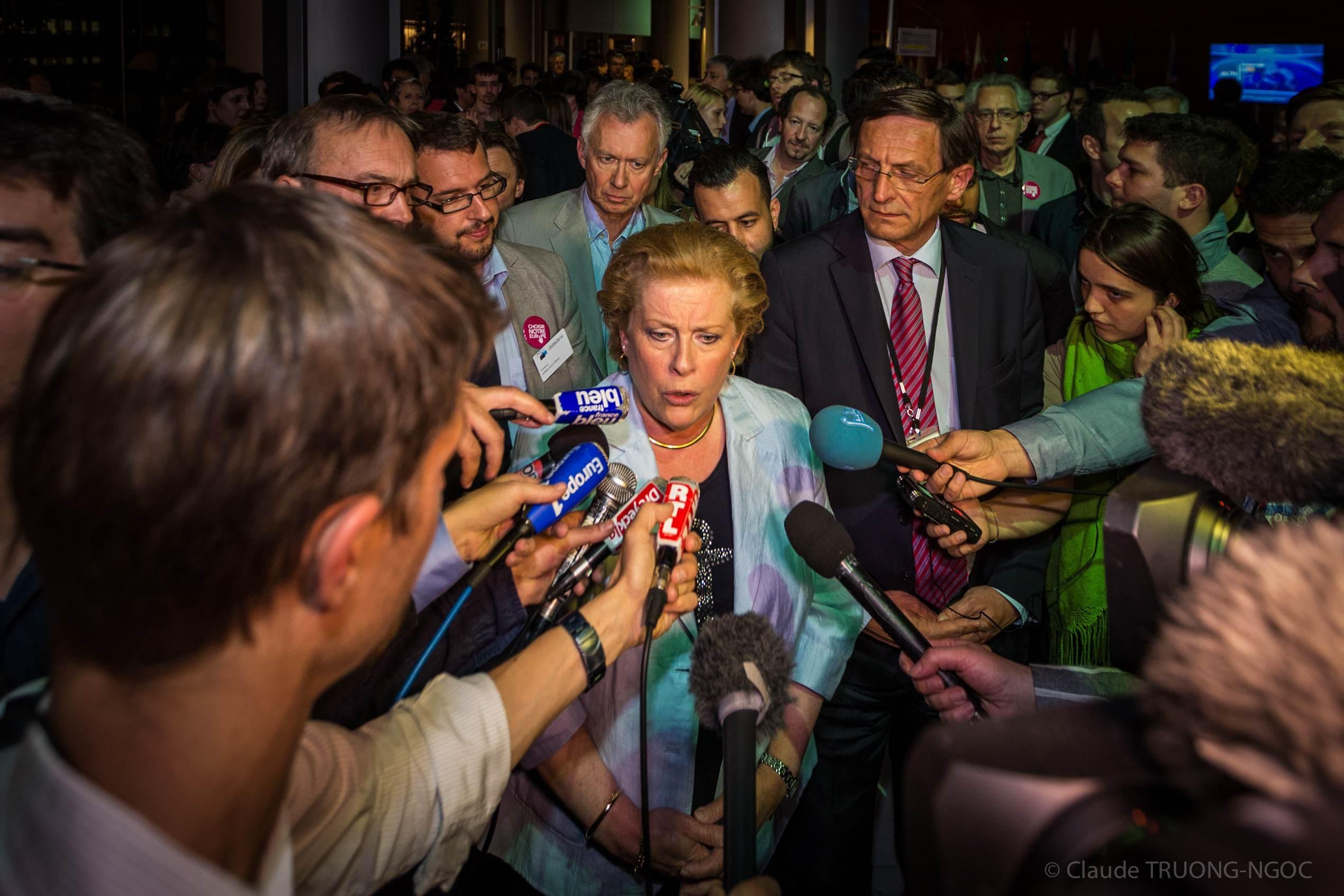 Catherine Trautmann, dimanche 25 mai à l'annonce des résultats.