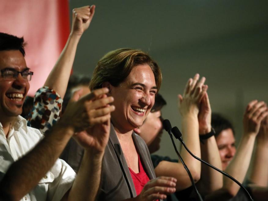 Ada Colau après l'annonce des résultats à Barcelone.