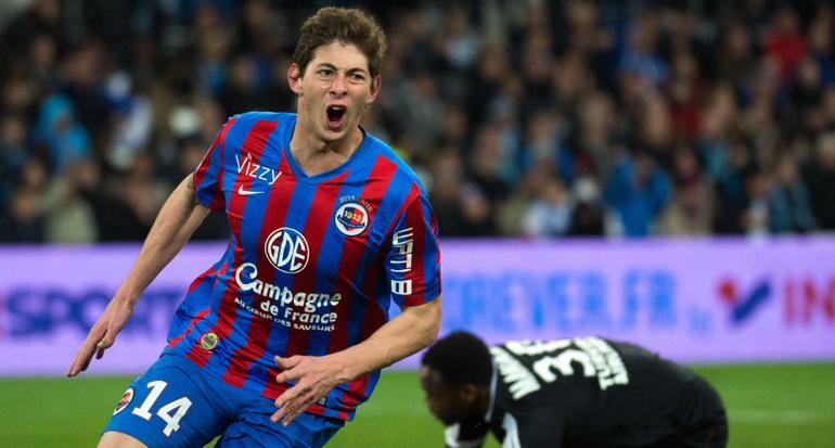 Emiliano Sala a marqué le but égalisateur pour Caen face à l'OM.