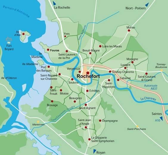 Le futur hyperincinérateur serait à Échillais ,sur la carte juste en-dessous de Rochefort (DR)