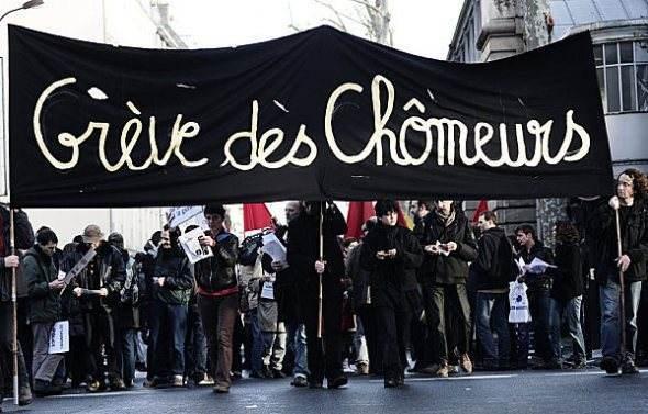 À Lille, le 1er février, manifestation avant l'occupation d'une agence de Pôle emploi.