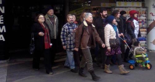 L'équipe du cinéma Le Méliès en grève, en février 2013 (DR