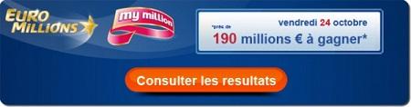 résultat du tirage Euromillion ce vendredi 24 octobre