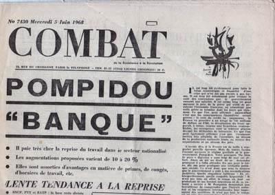 Le quotidien Combat de juin 1968