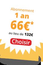 Abonnement 1 an 66 €*;
