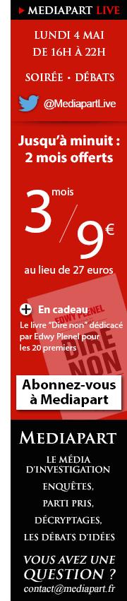 Offre valable jusqu'à minuit : 3 mois d'abonnement à Mediapart pour 9€