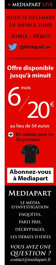 Abonnez-vous 6 mois à Mediapart pour 20€ seulement !